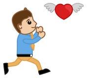 Um homem dos desenhos animados que tenta travar um coração do voo ilustração do vetor