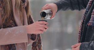 Um homem e uma mulher de amor dos pares no chá bebendo da floresta do inverno de uma garrafa térmica Homem e mulher à moda em um  vídeos de arquivo