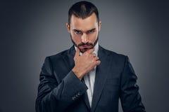 Um homem em um terno isolado no fundo cinzento fotografia de stock royalty free