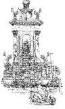 Um homem em um 'trotinette' em Plaza de Espana ilustração do vetor
