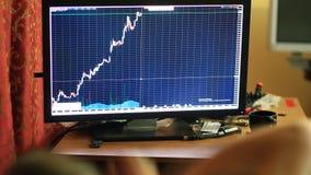 Um homem em um t-shirt e no short, sentando-se em casa no sofá, monitores muda na programação na troca de moeda video estoque
