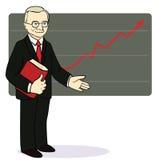 Um homem está perto do diagrama da seta Vetor Fotos de Stock