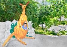 Um homem está sentando-se em um canguru do saco Fotografia de Stock Royalty Free
