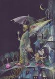 Um homem farpado com asas, mantendo uma vela e um guarda-chuva, andando na noite um cão de brinquedo Imagens de Stock Royalty Free