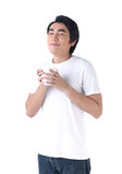 Um homem feliz com cheiro do café Imagens de Stock Royalty Free