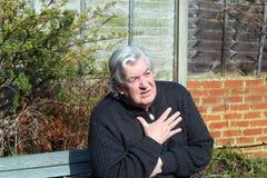 Cano principal idoso com dores no peito. fotografia de stock royalty free
