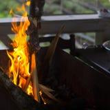 Um homem joga uma árvore no fogo Foto de Stock