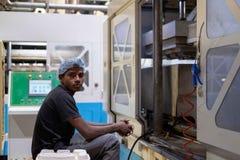 Um homem levanta para uma foto durante a excursão dos papéis de um Yash/fábrica do mandril imagem de stock royalty free