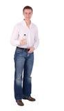 Um homem na camisa branca com um frasco vazio fotografia de stock royalty free