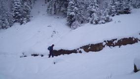 Um homem novo anda apenas através das espreitadelas nevados de um turista dos jovens da floresta consideravelmente através das tr video estoque