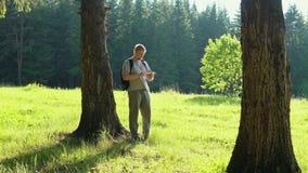 Um homem novo com um smartphone está procurando o sentido na floresta vídeos de arquivo