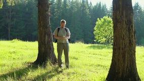 Um homem novo com um smartphone está procurando o sentido na floresta video estoque