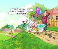 Um homem novo quer surpreender sua amiga ilustração royalty free