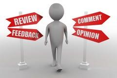 Um homem, o cliente ou a outra pessoa pensam de sua feedback, comentário, resposta, revisão ou opinião a uma pergunta ou a uma co Foto de Stock