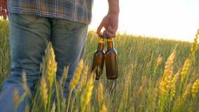 Um homem que anda em um campo de trigo com as duas garrafas da cerveja em um dia quente No por do sol Alargamento da lente de Sun filme