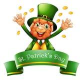 Um homem que comemora o dia de St Patrick com moedas Foto de Stock Royalty Free