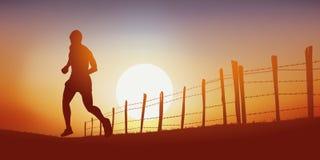 Um homem que corre em uma pista do país no por do sol ilustração royalty free