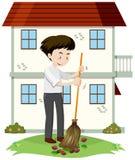 Um homem que limpa Front Yard ilustração royalty free