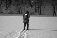 Um homem só anda na neve Silhueta dramática de um homem que anda em um esclarecimento nevado na floresta friamente foto de stock
