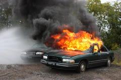 Um incêndio do automóvel Fotos de Stock
