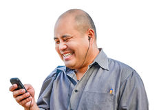 Um indivíduo do escritório aprecia conversar no móbil no backgroun isolado Imagem de Stock Royalty Free