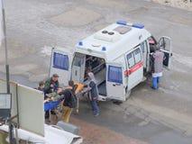 Um indivíduo novo é carregado em uma ambulância Imagem de Stock Royalty Free