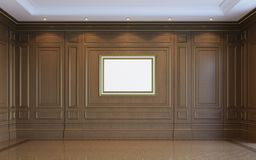 Um interior clássico com paneling de madeira rendição 3d Imagens de Stock