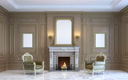 Um interior clássico com paneling e a chaminé de madeira 3d rendem Foto de Stock