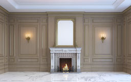 Um interior clássico com paneling e a chaminé de madeira rendição 3d Fotos de Stock