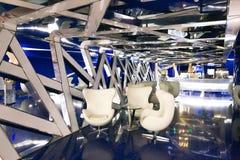Um interior fantástico do futuro em cores de azul cinzento foto de stock royalty free