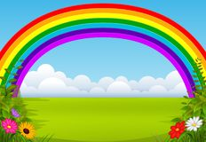 Um jardim encantador com um arco-íris ilustração stock