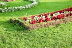 Um jardim finamente manicured mostra suas cores Imagem de Stock Royalty Free