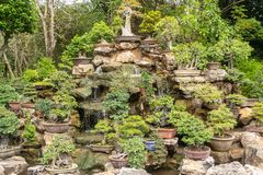 Um jardim ou um bonsai pequeno da árvore decorado belamente fotografia de stock royalty free