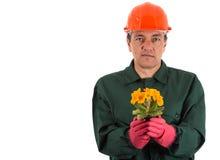 Jardineiro com um flowerpot à disposição Imagens de Stock