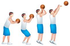 Um jogador de basquetebol de 3 ponteiros ilustração stock
