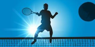 Um jogador de tênis faz um golpe em um fósforo ilustração do vetor