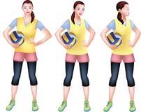 Um jogador de voleibol fêmea com um encanto ilustração stock