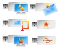 Um jogo de 6 ícones do vetor da movimentação do flash do usb do computador. Foto de Stock Royalty Free