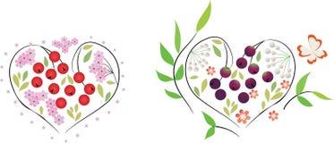 Um jogo de corações florais Imagens de Stock