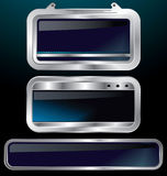 Um jogo de etiquetas metálicas do cromo Fotos de Stock