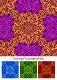 Um jogo de ornamento abstratos da flor ilustração royalty free