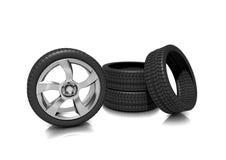 Um jogo de pneumáticos do perfil baixo Foto de Stock Royalty Free