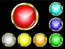 Um jogo de sete teclas lustrosas do Web Fotos de Stock Royalty Free