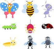 Um jogo do ícone do inseto de 9 terras comuns Fotos de Stock