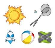 Um jogo do badminton, uma bola e o sol Os ícones ajustados da coleção das férias de verão no estilo dos desenhos animados vector  Imagens de Stock
