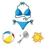Um jogo do badminton, uma bola e o sol Os ícones ajustados da coleção das férias de verão no estilo dos desenhos animados vector  Foto de Stock Royalty Free