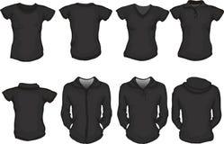 Um jogo do molde fêmea das camisas no preto