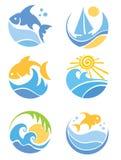 Um jogo dos ícones - dos peixes e do mar Foto de Stock