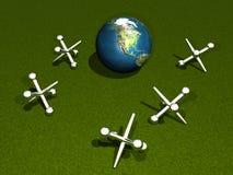 Um jogo dos jaques com a terra Foto de Stock Royalty Free