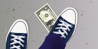 Um jovem encontrou uma nota de dólar na terra e pôs seu pé sobre ilustração do vetor